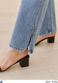 NOKA SLIT WIDE LONG DENIM PANTS