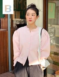 Puff shoulder button cardigan (size : free)