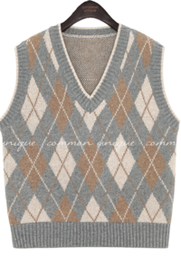 SOFF ARGYLE V NECK KNIT VEST