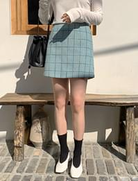 tweed color mini skirt_J
