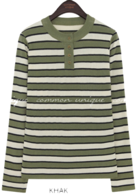 VERDA COLOR STRIPE BUTTON KNIT