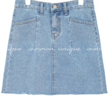 CABLE CUTTING DENIM MINI SKIRT