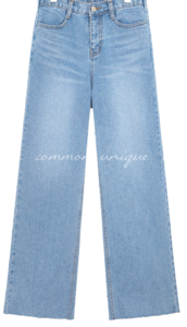 BANDING WIDE LONG DENIM PANTS