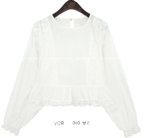 ROANA LACE FRILL CROP BLOUSE