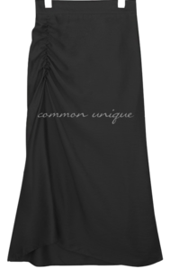 SATIN SHIRRING BANDING LONG SKIRT