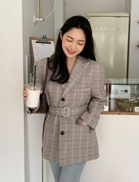 Stylish check belt jacket_C (size : free)