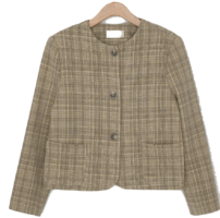 Round no collar neck check jacket