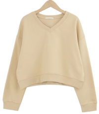 V neck color crop mtm_C