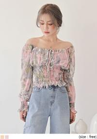 CELIS FLOWER SMOKE CHIFFON BLOUSE