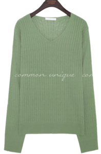 BENT TWIST V NECK KNIT