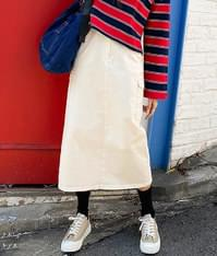 Biscuit cotton long skirt