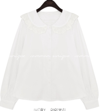 ORAN LACE COLLAR COTTON BLOUSE
