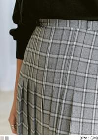 FOREVE CHECK PLEATS LONG SKIRT