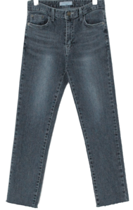 Hem Cut Slim Straight Fit Gray Jeans