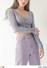 POE FLOWER SHIRRING WAVE CROP T