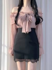 ♥ Cindy ribbon off shoulder blouse blouses