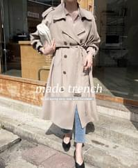 Clang Loose Fit Trench Coat-Gray Blue