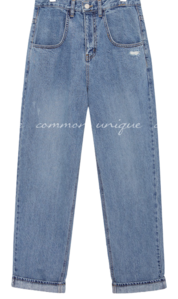 HOBEN DAMAGE BAGGY DENIM PANTS