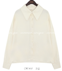 MOCOCO SILKY SHARP COLLAR BLOUSE