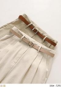 PINTUCK BELT SET COTTON PANTS