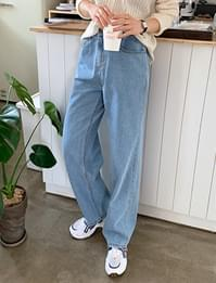 Banding wide denim pants _003C