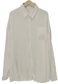 Gleam crease silky blouse_C (size : free)