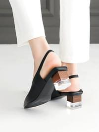 Lecated leather slingback middle heel pumps 4 cm