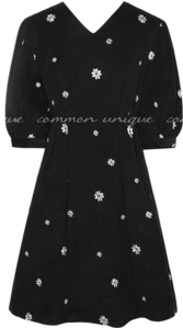 Embroidered Flower Accent Mini Dress WITH CELEBRITY