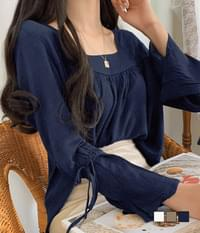 Angela square neck linen blouse