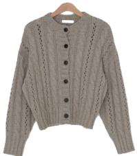 Alpaca punching knit cardigan