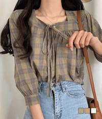 House check linen blouse