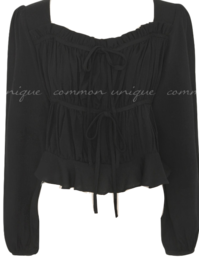 RUNDA SQUARE NECK SHIRRING BLOUSE