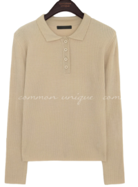Quarter Button Front Collared Knit Top