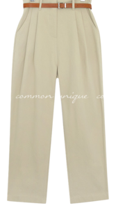 Pleat Accent Belted Pants