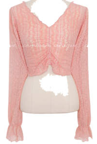 ROANY FLOWER LACE SHIRRING BLOUSE