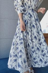 Blue Flower Flare Dress