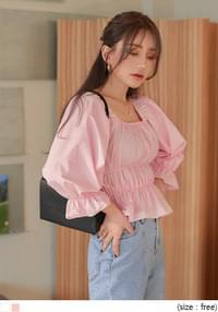 MOE BANDING SQUARE NECK BLOUSE