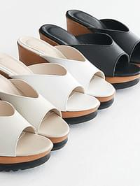 Artins Leather Wedge Mule Slippers 8cm
