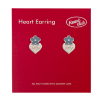 HEART CLUBLight Blue Flower With Silver Heart Stud Earrings