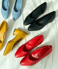 Colorful round pumps heel