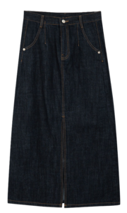 Front Slit Contrast Stitch Denim Skirt