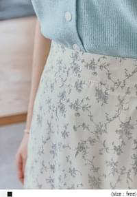 SEPIA FLOWER FLARE LONG SKIRT