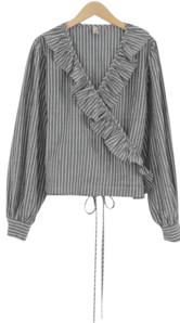 Striped frill wrap blouse blouses