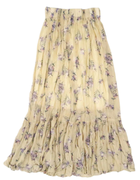 Flowery Chiffon Pleated Long Skirt-4color 裙子