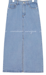 ROMEL SLIT DENIM LONG SKIRT