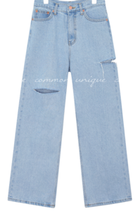 TEZ DAMAGE LONG DENIM PANTS