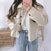 Stitched short cotton jacket