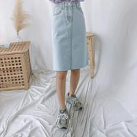 711 cut midi denim skirt