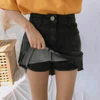 930 A-line cutting mini denim skirt