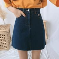 600 A line dark denim skirt